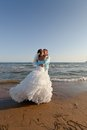 Bride and groom kissing at the beach Royalty Free Stock Photos