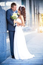 Bride and groom is kissing near the granite wall Stock Photography