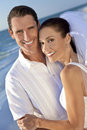 Bride & Groom Married Couple at Beach Wedding Royalty Free Stock Photo