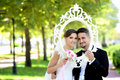 Bride and Groom in natural park Royalty Free Stock Photo