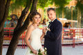 Bride and groom near tree and carousel Royalty Free Stock Photo