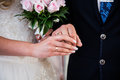 Bride and groom next to wedding rings on their hands Royalty Free Stock Photo