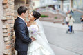 Bride and groom in an old town - wedding couple Royalty Free Stock Image