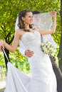 Bride and groom outdoor portrait Stock Images