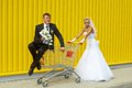 Bride and groom playing with a basket of supermarket Stock Afbeelding