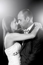 Bride and groom portrait over black Stock Photo