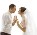Bride and Groom Portrait, Wedding Couple Looking Each Other Royalty Free Stock Photo
