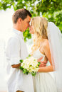 Bride and groom romantic newly married couple embracing just m enjoying Stock Photos