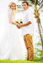 Bride and groom romantic newly married couple holding hands ju just Stock Photography