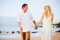 Bride and groom romantic newly married couple holding hands wal walking on the beach just Stock Photography