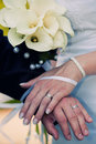 Bride and Groom's Wedding Bands Stock Images