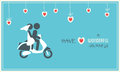 Bride and groom on scooter wedding card motorbike or Stock Photography