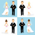 Bride and groom set of happy wedding couples of caucasian Stock Photo