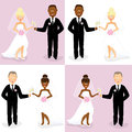 Bride and groom set of happy wedding couples of caucasian african with champagne glasses Stock Image