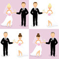 Bride and groom set of happy wedding couples of caucasian with champagne glasses Royalty Free Stock Photography