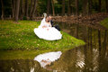 Bride and groom sitting on bank on lake in autumn forest Royalty Free Stock Photos