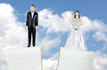Bride and groom on split cake tier a wedding with sky background Royalty Free Stock Photo