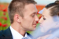Bride and groom stare  into each others eyes Royalty Free Stock Photography