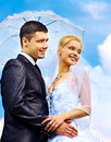 Bride and groom summer outdoor. Stock Photos