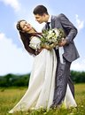 Bride and groom summer outdoor happy wedding Royalty Free Stock Photography