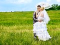 Bride and groom summer outdoor happy wedding Royalty Free Stock Images