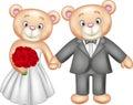 Bride and groom teddy bears getting married