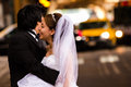 Happy Bride and Groom in Urban Environment