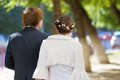 Bride and groom walking Royalty Free Stock Images