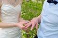Bride Groom Wears Wedding Ring...