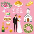 Bride And Groom. Wedding ceremony Set. Newlyweds icons. vector illustration. Married couple, summer. Vintage rustic cake