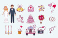 Bride and groom wedding couple marriage nuptial icons design ceremony celebration and holliday people folk icons beauty