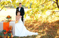 Bride and groom at the wedding table. Autumn outdoor setting. Royalty Free Stock Photo