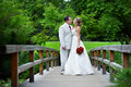 Bride and groom on a wooden bridge Stock Photo