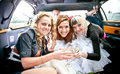 Bride having hen party in limousine beautiful Royalty Free Stock Image