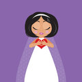 Bride with heart in her hands red Royalty Free Stock Images