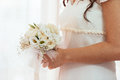 Bride with her bouquet picture of a Royalty Free Stock Photography