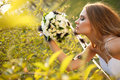 Bride hippie style spring park Royalty Free Stock Images