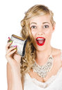 Bride Holding Alcohol Flask During Hens Night Out Stock Photo