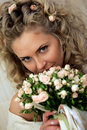 Bride holding a beautiful bouquet Stock Photo