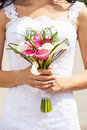 Bride holding bouquet of deep-bo Royalty Free Stock Images