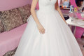 Bride at home in luxury wedding dress Stock Image