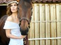 Bride and Horse Royalty Free Stock Photo
