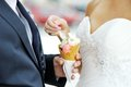 Bride with an ice cream which is in the hand of the groom Stock Photos