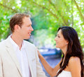 Bride just married couple in love at outdoor Royalty Free Stock Images
