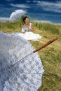 Bride and lace umbrella Royalty Free Stock Photos