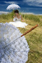 Bride and lace umbrella Royalty Free Stock Photo