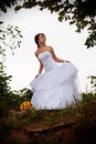 Bride looking away outdoors full length portrait of a with the bouquet standing under the tree Stock Photos