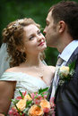 Bride looking in groom's eyes Royalty Free Stock Photo