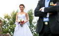 Bride with man in blur background portrait men Stock Photos