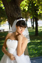 The bride in a meditative pose beautiful brunette Royalty Free Stock Images